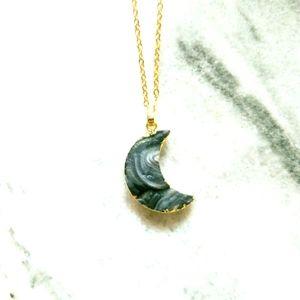 Druzy Quartz Swirl Moon Necklace
